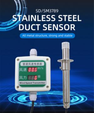Industrial stainless steel pipe wind speed sensor video